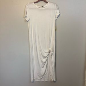 NWT white knotted midi dress